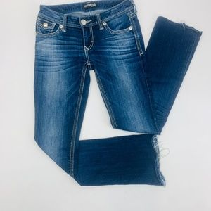 Express Jeans Womens 2 Blue Stella Barely Boot Low